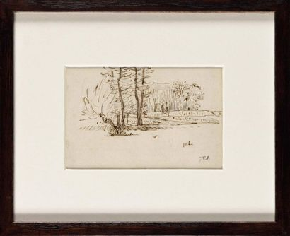 Jean-François MILLET (1814-1875) Etude d'arbres...