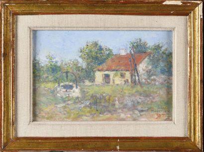 Marc MOUCLIER (1866-1949) Puit devant la maison au toit rouge Huile sur carton Signé...