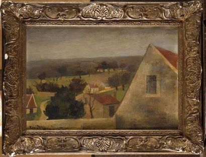 René DUREY (1890-1959) Paysage aux toits...