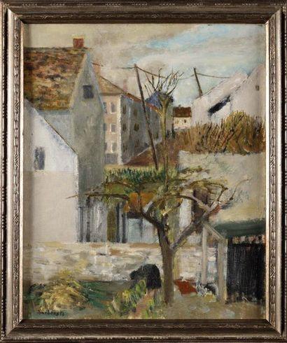 Guy BARDONE (1927-2015) Jardin à Poissy Huile...