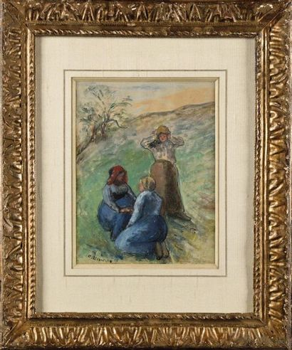 Camille PISSARRO (1830-1903) Trois paysannes,...