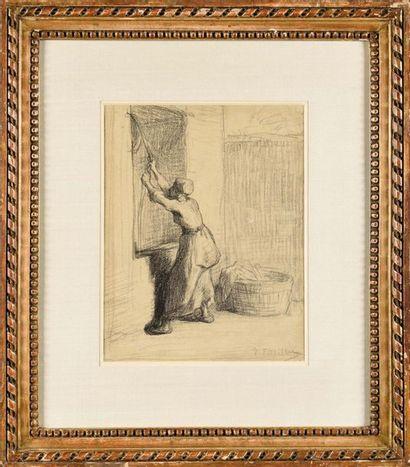 Jean-François MILLET (1814-1875) Femme étendant...