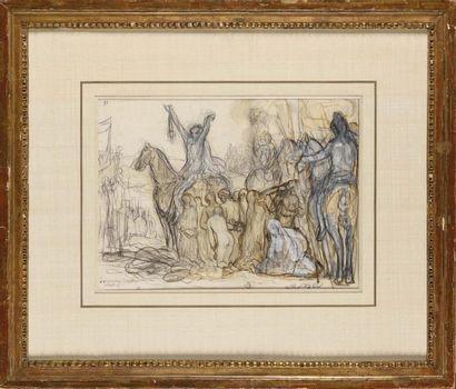 Pierre PUVIS DE CHAVANNES (1824-1898) Etude pour «Charles Martel, vainqueur des...