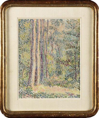 Edouard FER (1887-1959) Arbres en forêt Gouache...