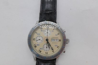LONGINES Lindbergh Montre chronographe acier...