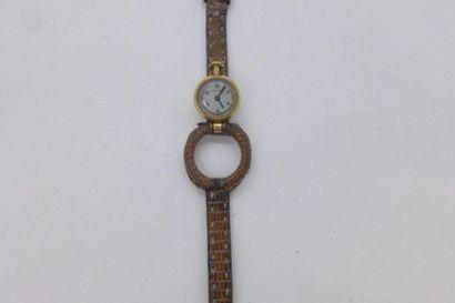 HERMES Montre en or jaune 18k. bracelet piton,...