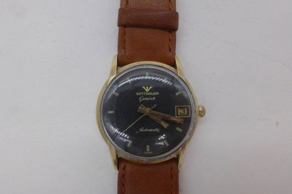 LONGINES WITTNAUER VERS 1960 Montre-bracelet en plaqué or jaune, remontage automatique,...