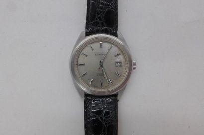 """LONGINES """"Comet"""" ANNEES 1970 Montre pour homme en acier sur bracelet cuir. Cadran..."""