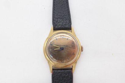 """""""LONGINES mouv'longines MILIEU DES ANNEES 50 Montre bracelet en or 18k sur cuir...."""