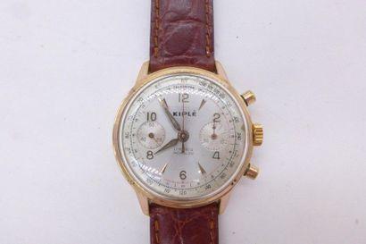 KIPLE Montre chronographe d'homme en or plaqué or rose, mouvement mécanique à remontage...