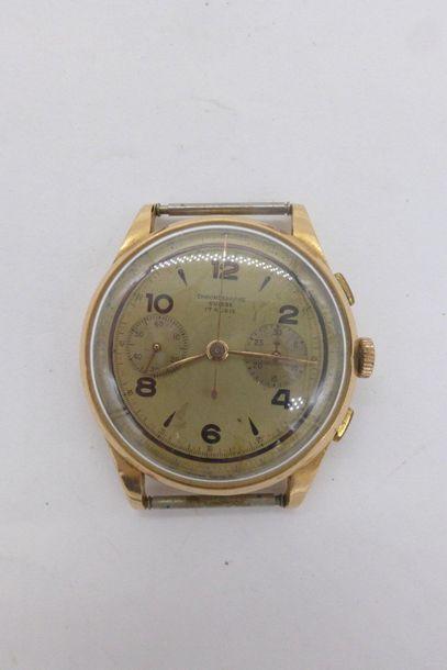 CHRONOGRAPHE SUISSE ANTIMAGNETIC - Montre bracelet d'homme. BOÎTIER : rond en or...