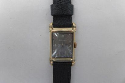 BULOVA DRIVER n°1664513 VERS 1930 Rare montre bracelet Driver en métal plaqué or...
