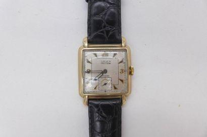 GRUEN Precision AUTOWIND VERS 1930 Rare et belle montre bracelet carrée curvex en...