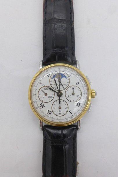 BAUME ET MERCIER Montre chronographe 3 compteurs phase de lune date or et acier...