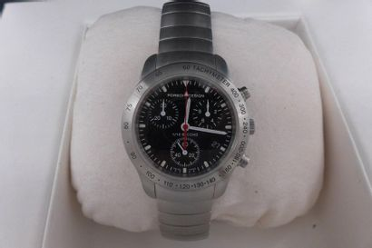 PORSCHE DESIGN VERS 1990 Chronographe bracelet En acier, boîtier rond, fond vissé,...
