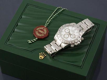 ROLEX Daytona ref. 116520, n°033090. Around 2006. Chronograph stainless steel bracelet....