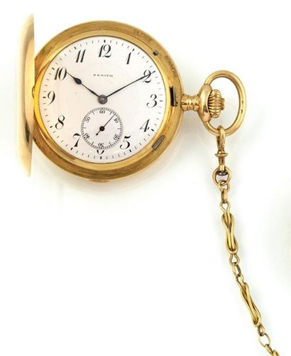 ZENITH Pocket watch in 18K yellow gold with quarter repetition. Hinged case with...