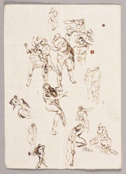 ÉCOLE FRANÇAISE, VERS 1820 Étude de figures...