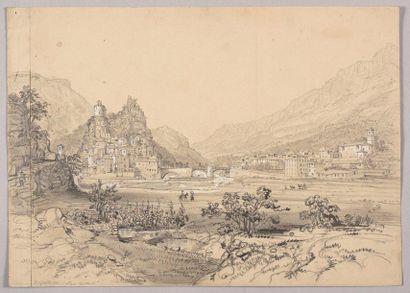 FÉLIX BENOIST (1818-1896) Vue de Roquesteron,...