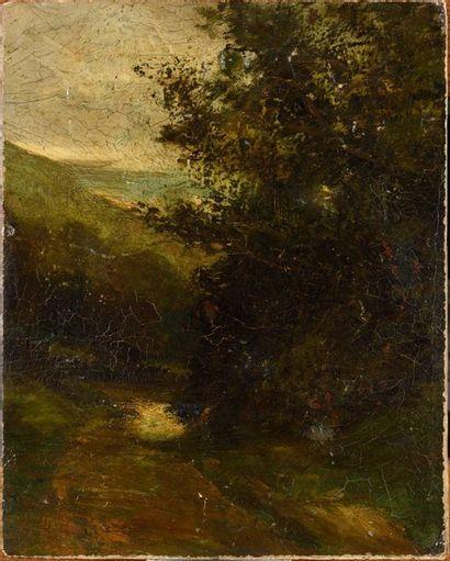 ATTRIBUÉ À GUSTAVE COURBET (1819-1877) Sentier...