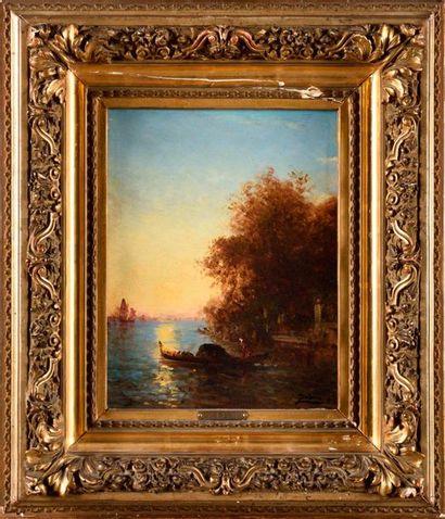 FÉLIX ZIEM (1821-1911) Venise, gondole devant...