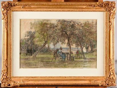 EUGÈNE BOUDIN (1824-1898) Femme dans le jardin...