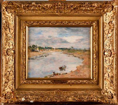 EUGÈNE BOUDIN (1824-1898) Lavandière au bord...