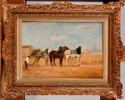 STANISLAS LEPINE (1835-1892) Charrette sur...