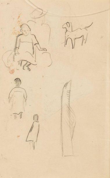 PAUL GAUGUIN (1848-1903) La Case, circa 1895 Aquarelle, encre et crayon. Au verso...
