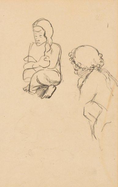 PAUL GAUGUIN (1848-1903) Deux femmes au bord d'un ruisseau, circa 1893 Crayon sur...