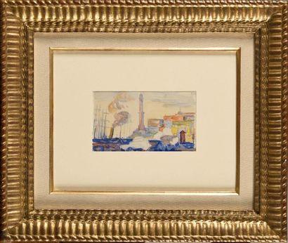PAUL SIGNAC (1863-1935) Le port de Gênes...