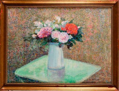 VICTOR CHARRETON (1864-1936) Vase de fleurs...