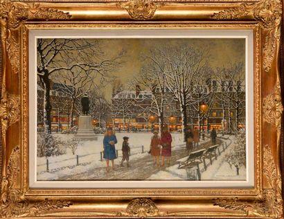 MARCEL LEBRUN (Né en 1867 ) Le square du...