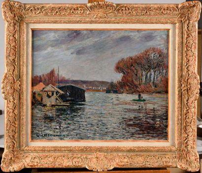 GUSTAVE LOISEAU (1865-1935) Le bateau lavoir...
