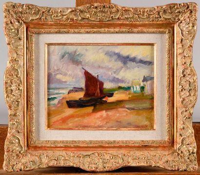 LOUIS VALTAT (1869-1952) Barque sur la grève,...