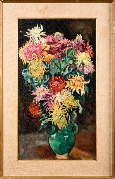 LOUIS VALTAT (1869-1952) Vase de dahlias,...