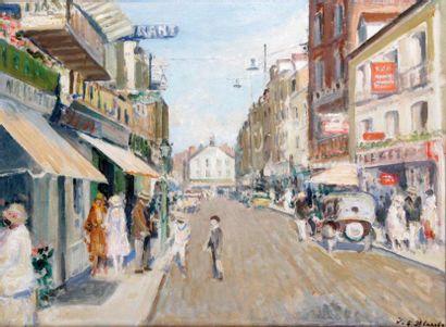 JACQUES EMILE BLANCHE 1869-1942. Rue animée...