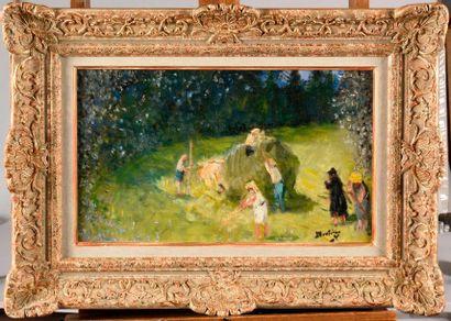 PIERRE EUGENE MONTEZIN (1874-1946) Les fenaisons...