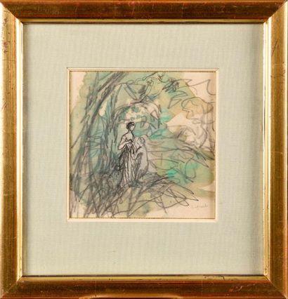 PIERRE LAPRADE (FRA/ 1875-1931) Idylle (Couple...