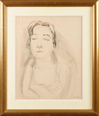 RAOUL DUFY (1877-1953) Portrait de femme...