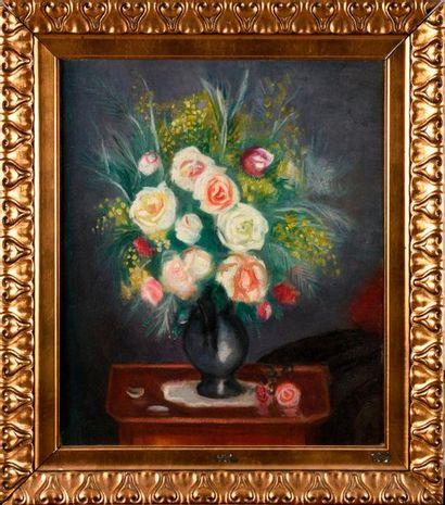 CHARLES CAMOIN (1879-1965) Vase de roses...