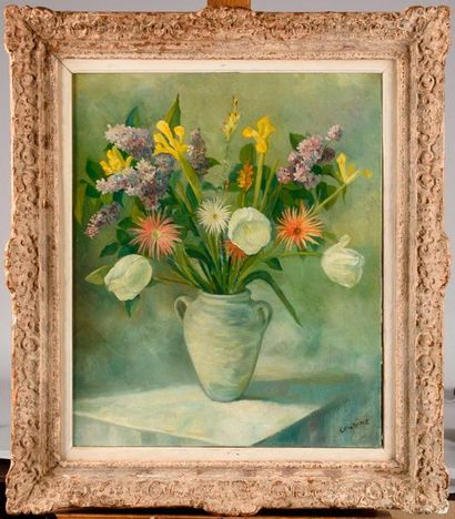 OTHON COUBINE (1883-1969) Vase de fleurs...