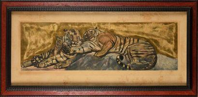 PAUL JOUVE (FRA/ 1878-1973)   Trois tigres...