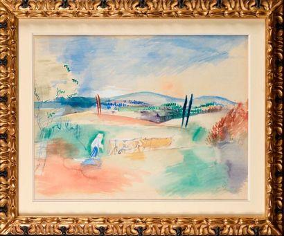 JEAN DUFY (1888-1964) Le laboureur Aquarelle...