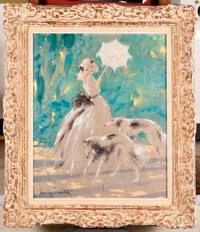 LOUIS ICART (1888-1950) Blanc et noir Huile...