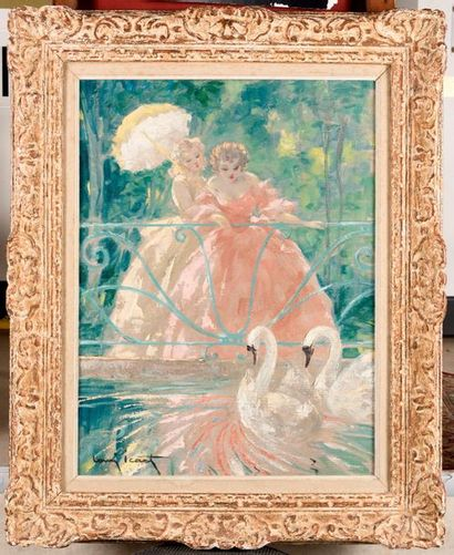 LOUIS ICART (1888-1950) Les cygnes de Malmaison...