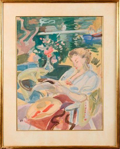 ANDRÉ PLANSON (FRA/ 1898-1981) Femme lisant...