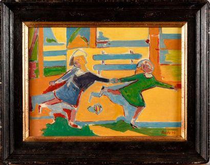 FRANCISCO BORES (1898-1972) Enfants jouant,...
