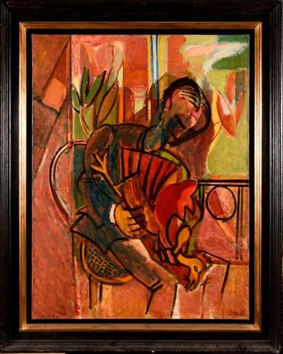 FRANCISCO BORES (1898-1972) Homme au coq,...
