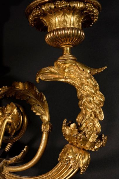 Pair of important arms of light in chased and gilded bronze (two tones of gold),...